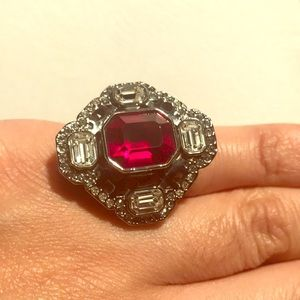 Authentic Swarovski Red Ring 55